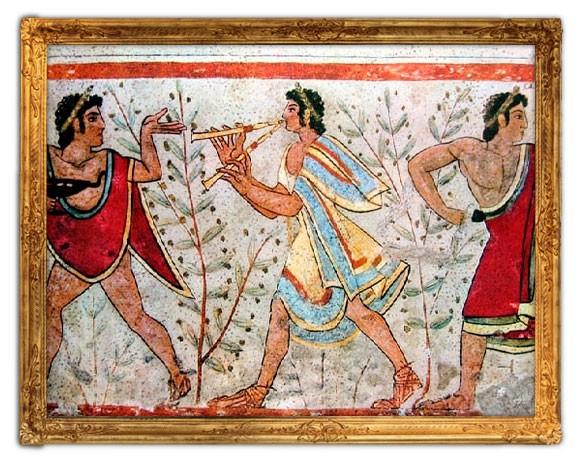 Pintura mural s. VI a. C. Etruscos. Tumba de los Leopardos. Escena con jóvenes músicos en olivares. Necrópolis de Tarquinia (Lazio)